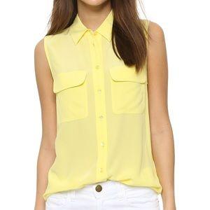 Equipment Yellow Silk Sleeveless Blouse, XS